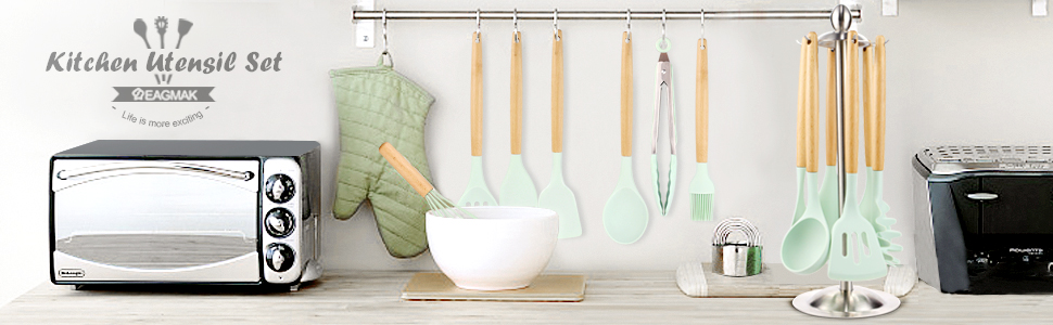 802e7f83 0a51 4b2b 98cb 1088a1fe08cf.  CR0,0,970,300 PT0 SX970 V1    - Silicone Kitchen Cooking Utensil Set, EAGMAK 16PCS Kitchen Utensils Spatula Set with Stainless Steel Stand for Nonstick Cookware, BPA Free Non-Toxic Cooking Utensils, Kitchen Tools Gift (Mint Green)