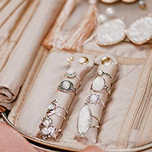 8b986bff 804e 47a4 aacd e133f01f5831. CR0,0,300,300 PT0 SX300   - BAGSMART Jewelry Organizer Case Travel Jewelry Storage Bag for Necklace, Earrings, Rings, Bracelet, Soft Pink