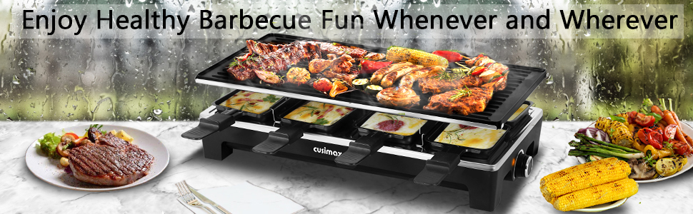 8f4fc57d 670e 402e ace8 85b92d63b806.  CR0,0,970,300 PT0 SX970 V1    - CUSIMAX Raclette Grill Electric Grill Table, Portable 2 in 1 Korean BBQ Grill Indoor & Cheese Ractlette, Reversible Non-stick plate, Crepe Maker with Adjustable temperature control and 8 Paddles