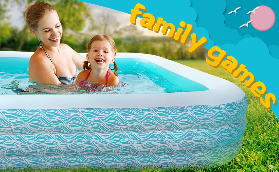 """97707077 bf45 441d bf07 943a87000995.  CR0,0,970,600 PT0 SX970 V1    - heytech Family Inflatable Swimming Pool, 118"""" X 72"""" X 22"""" Full-Sized Inflatable Lounge Pool for Kiddie, Kids, Adult, Toddlers for Ages 3+, Outdoor, Garden, Backyard Summer Water Party Blow up Pool…"""