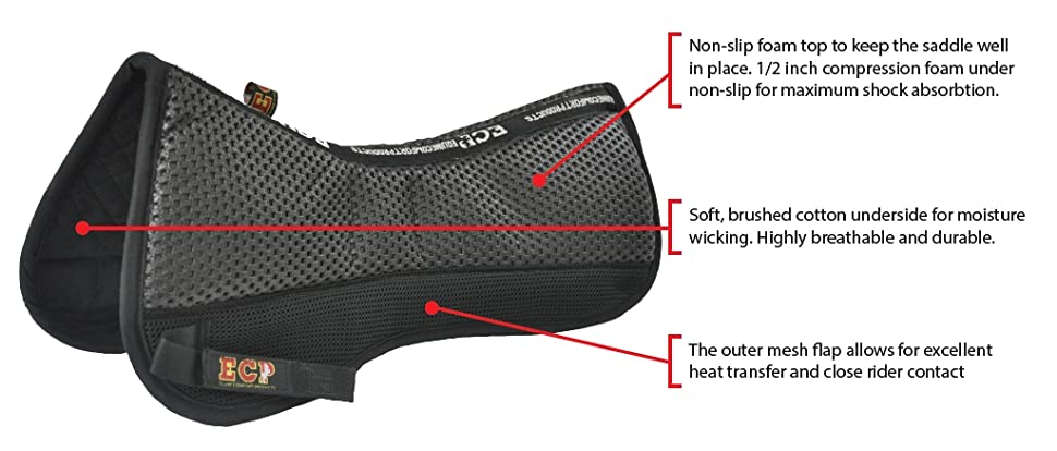 VDlZVW6TSaOt. UX970 TTW   - ECP All Purpose Grip Tech Half Saddle Pad Non Slip Top Brushed Cotton Bottom Compression Foam Breathable Shock Absorbing Moisture Wicking with Mesh Flaps