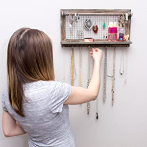 c10fbb9f 087b 4567 ae4c c9ff7d3cd154.  CR71,0,2920,2920 PT0 SX300 V1    - Rustic Jewelry Organizer with Bracelet Rod Wall Mounted - Wooden Wall Mount Holder for Earrings, Necklaces, Bracelets, and Many Other Accessories SoCal Buttercup