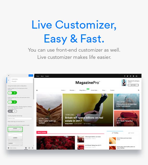 customizer - MagPlus - Blog, Magazine Elementor WordPress Theme