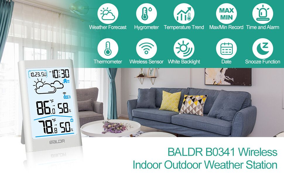 fc9fc04e ca5d 46b4 9b84 f0584bbd9e88.  CR0,0,970,600 PT0 SX970 V1    - BALDR Wireless Weather Station, Digital Indoor Outdoor Thermometer Hygrometer with Backlight LCD Display and External Sensor, Ideal for Weather Forecast Monitoring, Alarm Clock - White