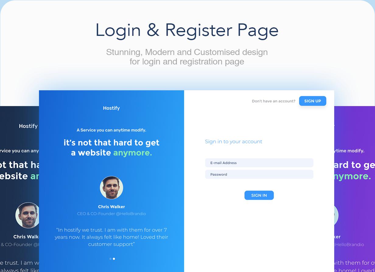 loginregister - Hostify — Hosting HTML & WHMCS Template