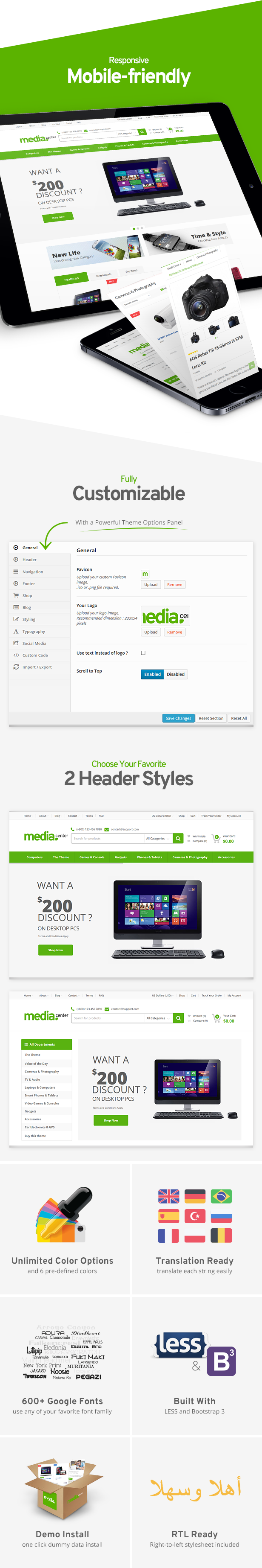 mobile friendly and fully customizable - MediaCenter - Electronics Store WooCommerce Theme