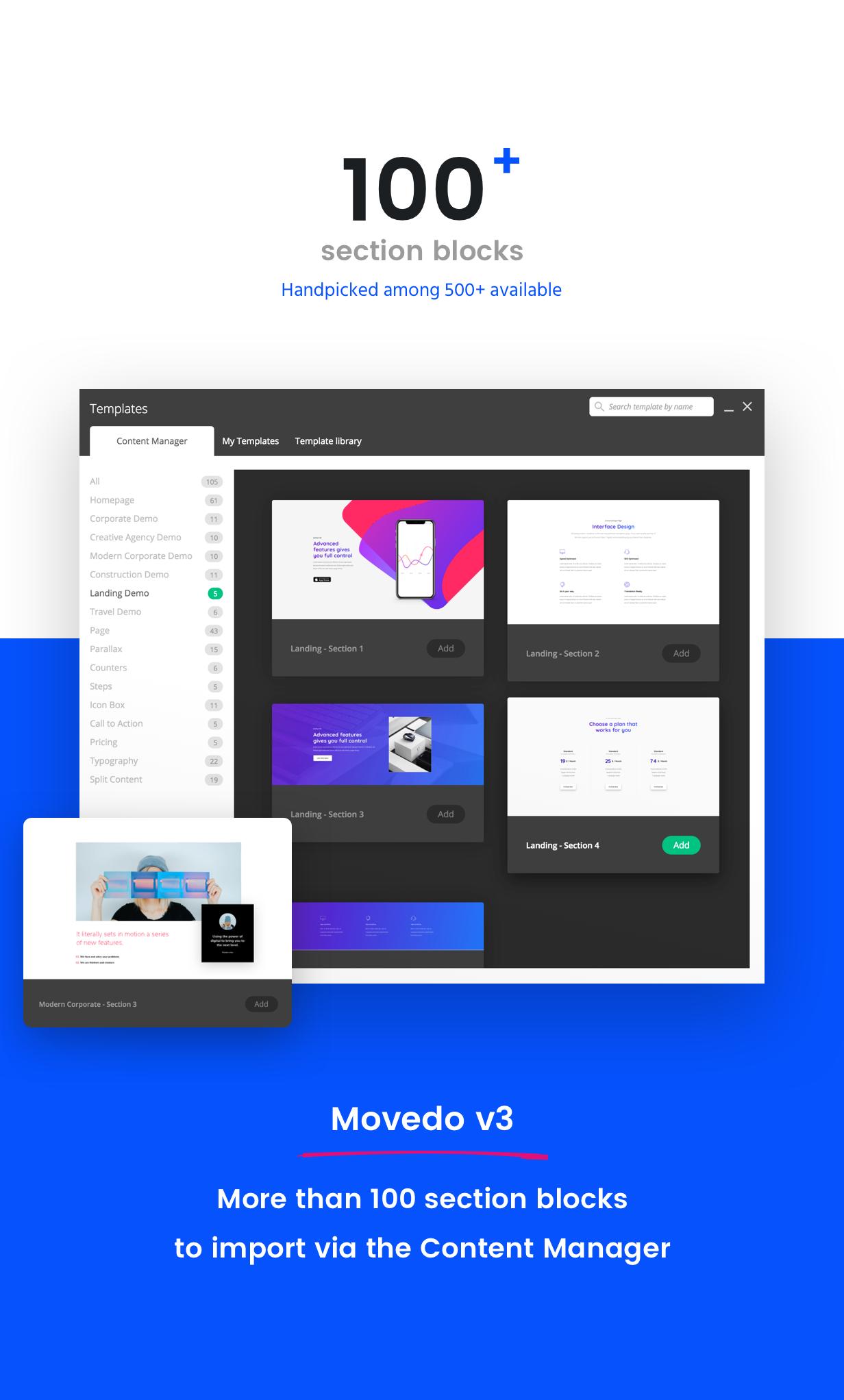 movedo section blocks v3 - Movedo - Responsive Multi-Purpose WordPress Theme