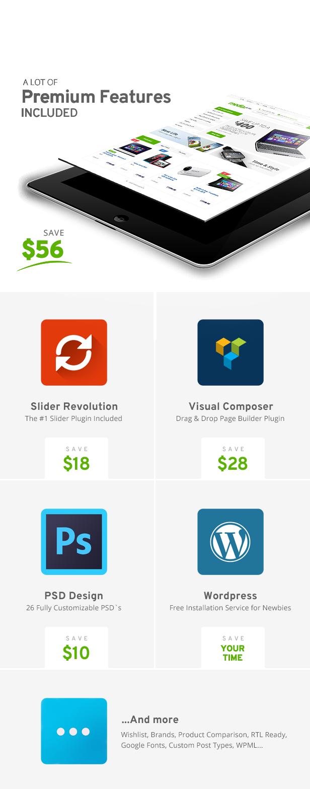 premium features - MediaCenter - Electronics Store WooCommerce Theme