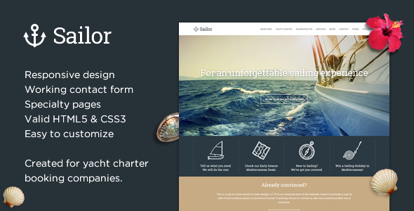 preview.  large preview - Sailor - Yacht Charter Booking HTML Template