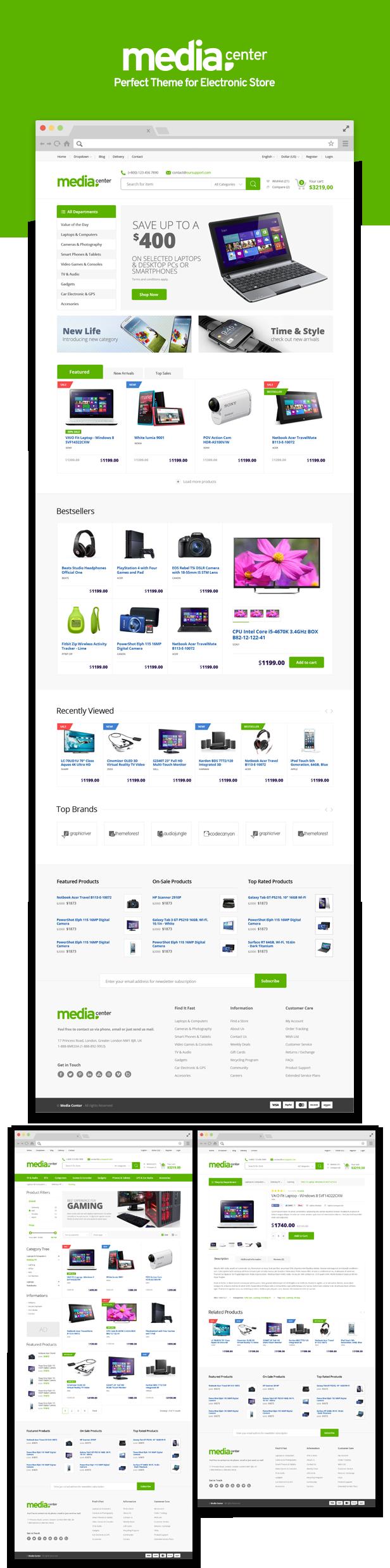 quick design presentation - MediaCenter - Electronics Store WooCommerce Theme