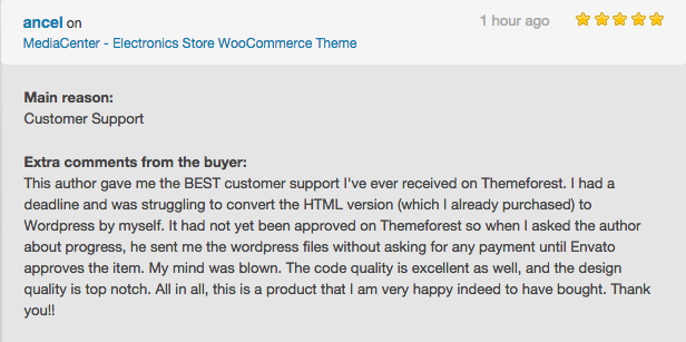 review 1 - MediaCenter - Electronics Store WooCommerce Theme
