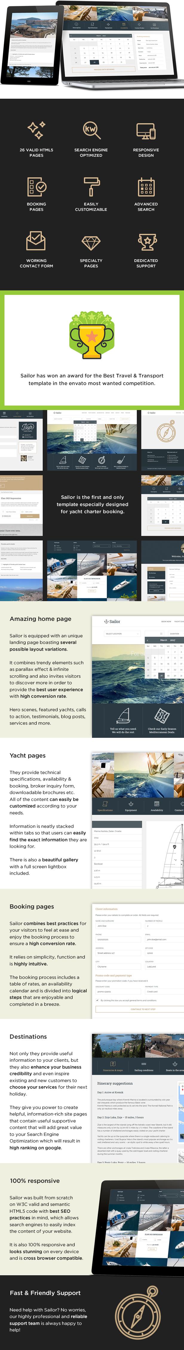 sailor html template - Sailor - Yacht Charter Booking HTML Template