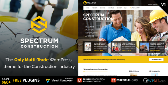 spectrum preview.  large preview - Spectrum - Multi-Trade Construction Business Theme