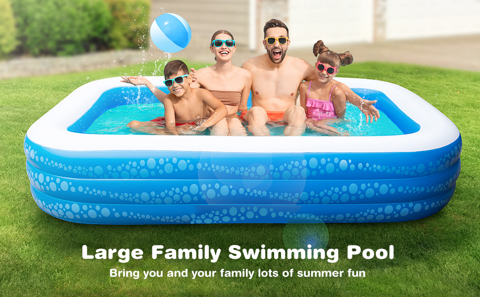 """002f2dc4 d518 45c2 9103 8d3631a69432.  CR0,0,970,600 PT0 SX970 V1    - Inflatable Pool, Hesung 117"""" X 69""""X 21"""" Family Swimming Pool for Kids, Toddlers, Infant, Adult, Full-Sized Inflatable Blow Up Kiddie Pool for Ages 3+, Outdoor, Garden, Backyard, Summer Swim Center"""