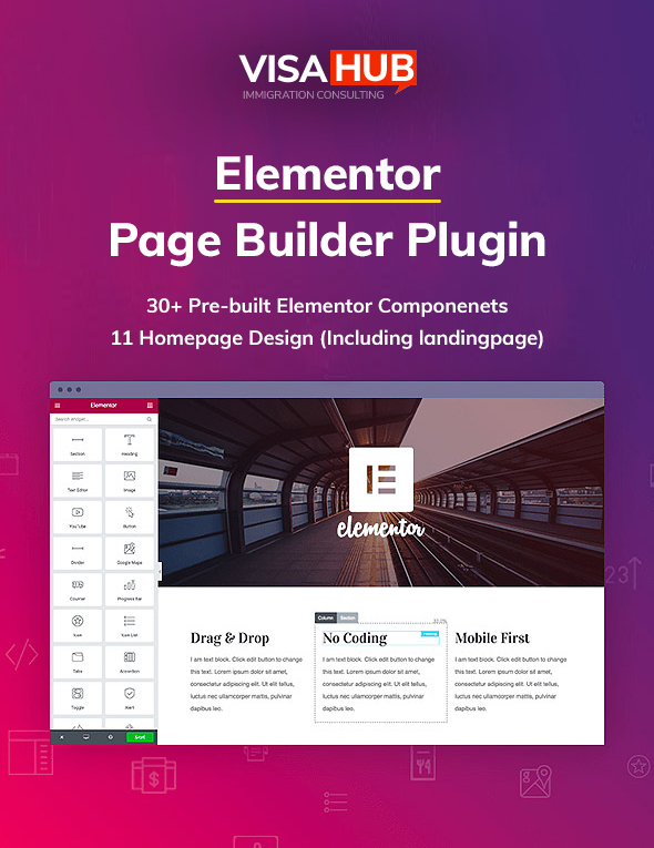 00 elementor page builder - VisaHub - Immigration Consulting WordPress Theme