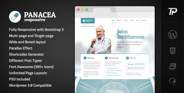 00 preview.  large preview - Panacea Medical Parallax Responsive WP Theme