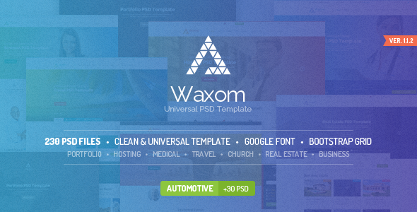 00 preview 590x300.  large preview - Waxom - Clean & Universal PSD Template