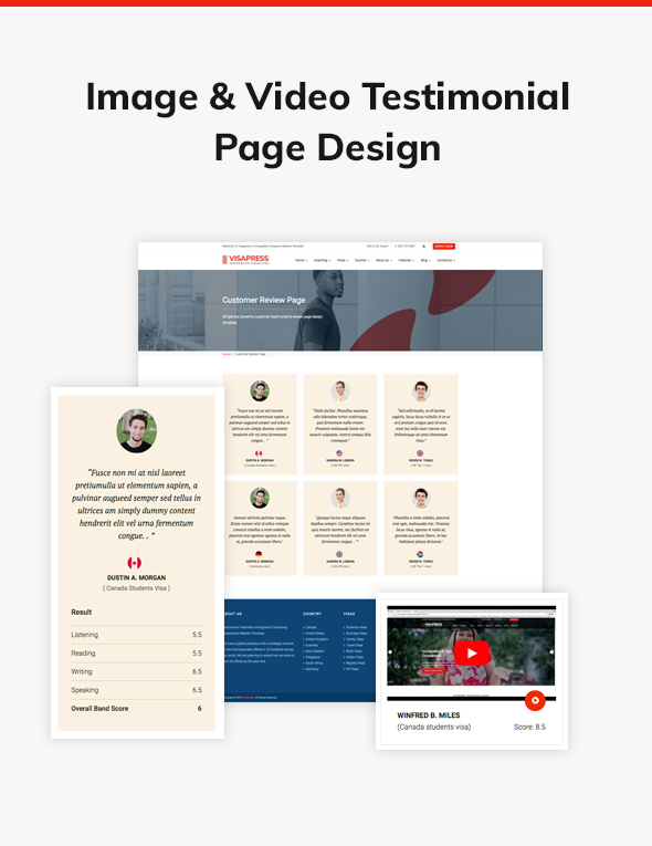06 testimonial page design example - VisaHub - Immigration Consulting WordPress Theme