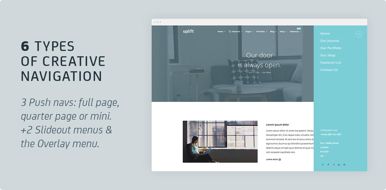 11 pushnavs - Uplift - Responsive Multi-Purpose WordPress Theme