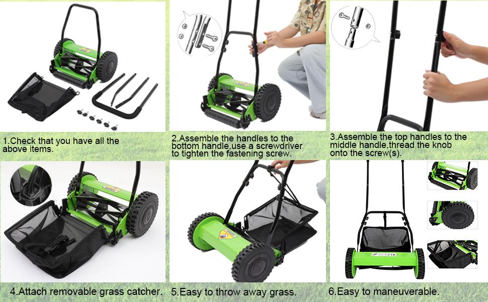 13eda567 d0d1 4cd3 b385 58df57a2dfbf.  CR0,0,970,600 PT0 SX970 V1    - Olenyer 16-Inch Quiet Cut Push Reel Lawn Mower with 5-Blade Push Reel,Green