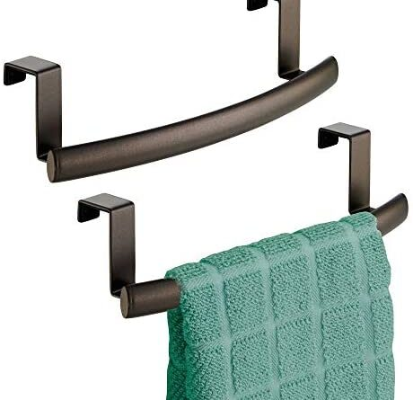 """1628086164 41EOxtF2qZL. AC  460x445 - mDesign Modern Metal Kitchen Storage Over Cabinet Curved Towel Bar - Hang on Inside or Outside of Doors, Organize and Hang Hand, Dish, and Tea Towels - 9.7"""" Wide, 2 Pack - Bronze"""