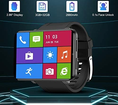 """1628562768 51MreOb8NIL. AC  500x445 - TICWRIS Andriod Smart Watch, GPS Android Smartwatch, 4G LTE with 2.86"""" Touch Screen, Face Unclok Phone Watch with 2880mAh Battery, IP67 Waterproof Sport Watch,3GB+32GB Andriod Watch for Men (Black)"""
