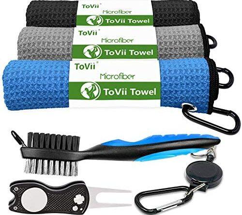 1628865934 5100 J5uonL. AC  500x445 - ToVii Golf Towel Microfiber Waffle Pattern Golf Towel | Brush Tool Kit with Club Groove Cleaner | Golf Divot Tool | Golf Accessories for Men
