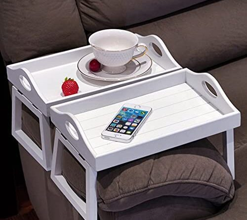 1628909194 41g4rdWxE6S. AC  500x445 - TRSPCWR 2pcs Arm Clip Table, Couch Arm Table, 7.8x11.8in, Arm Rest Table, Armrest Table Tray, Sofa Armrest Tray, Side Table Tray for Drinks, Portable Remote Control, Snacks Holder, Wooden, White