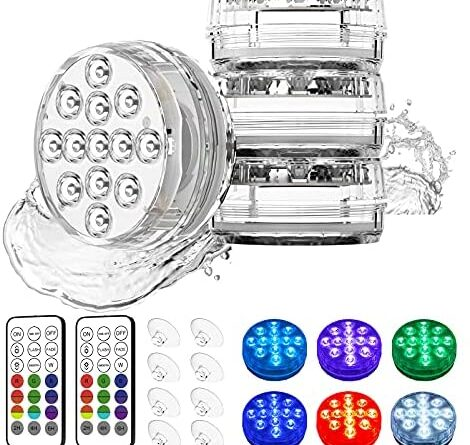 1629473326 51UrKhDPAlS. AC  470x445 - Waterproof Submersible Led Pool Lights Underwater, 16 Colors Pond Lights with Remote, Suction Cups & Magnet, Halloween Decor Lamp for In-ground Pool Bathtub Fish Tank Christmas Decor Lights (4 Pack)