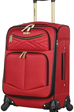 1629689861 41SOVyU6wkL. AC  294x445 - Steve Madden Designer Luggage Collection - Lightweight Softside Expandable Suitcase for Men & Women - Durable 20 Inch Carry On Bag with 4-Rolling Spinner Wheels (Rockstar Red)