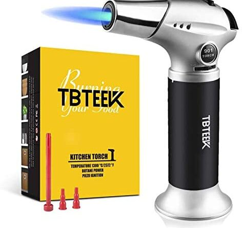 1630079449 41nRdS03CbL. AC  474x445 - TBTEEK Kitchen Torch, Fit All Tanks Butane Torch Cooking Torch with Safety Lock & Adjustable Flame for Cooking, BBQ, Baking, Brulee, Creme, DIY Soldering(Butane Not Included)