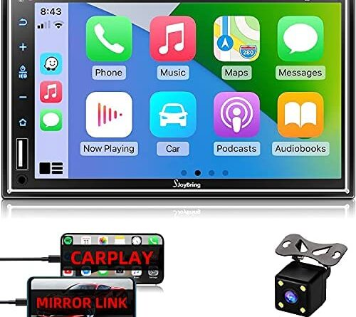 """1630252857 513EEfKbXNS. AC  500x445 - Car Stereo Compatible with Apple Carplay, Double Din 7"""" Full Touch HD Capacitive Screen - Mirror Link, Bluetooth, Backup Camera, Steering Wheel Controls, Subwoofer, USB/SD Port, AM/FM Car Radio"""