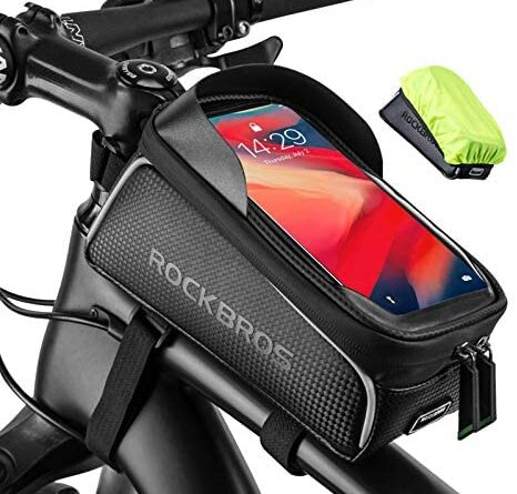 """1630339407 51m6jhTpNRL. AC  466x445 - ROCKBROS Top Tube Bike Bag Waterproof Bicycle Bag Touch Screen Bike Pouch Bike Cell Phone Holder Cycling Accessories for iPhone 12 11 7 8 Plus Xs Max Below 6.7"""""""
