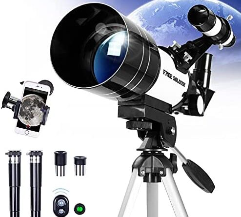 1630382794 51QBh3fGukS. AC  494x445 - FREE SOLDIER Telescope for Kids Astronomy Beginners - 70mm Aperture High Magnification Astronomical Refractor Telescope with Phone Adapter Wireless Remote Portable Telescope for Kids,White