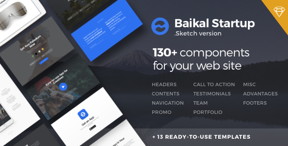 1 preview%20image 590x300.  large preview - Baikal Startup - 130+ Components for Sketch