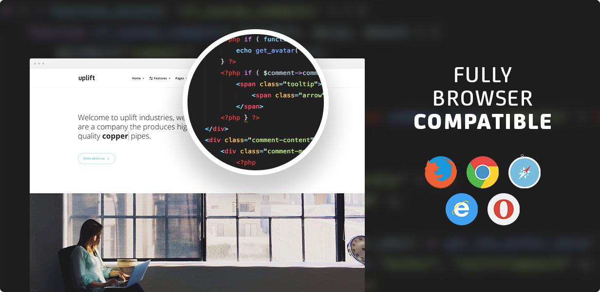 21 browsers - Uplift - Responsive Multi-Purpose WordPress Theme