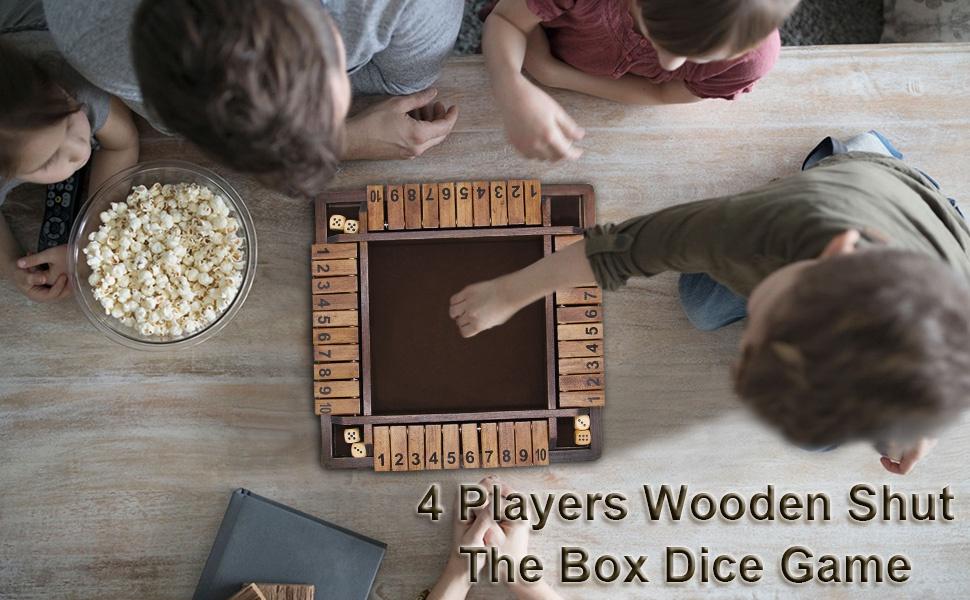 2346126f a3ee 4bd2 9cae 290a06b148e7.  CR0,0,970,600 PT0 SX970 V1    - Juegoal Wooden 4 Players Shut The Box Dice Game, Classics Tabletop Version and Pub Board Game, 12 inch