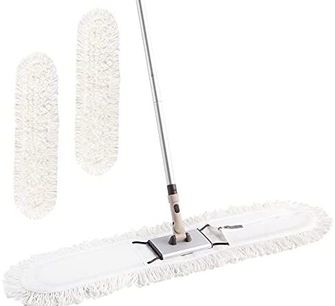 """31CRHl903S. AC  487x445 - Eyliden 36"""" Professional Industrial Mop, Commercial Cotton Dust Mops Broom, Telescopic Handle Residential Commercial Floor Cleaning Tools for Home Mall Hotel Office Garage (White, 36"""")"""