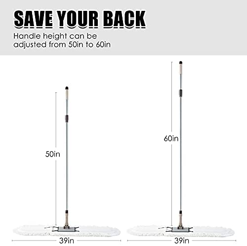 """31Q3qhgPj7S. AC  - Eyliden 36"""" Professional Industrial Mop, Commercial Cotton Dust Mops Broom, Telescopic Handle Residential Commercial Floor Cleaning Tools for Home Mall Hotel Office Garage (White, 36"""")"""