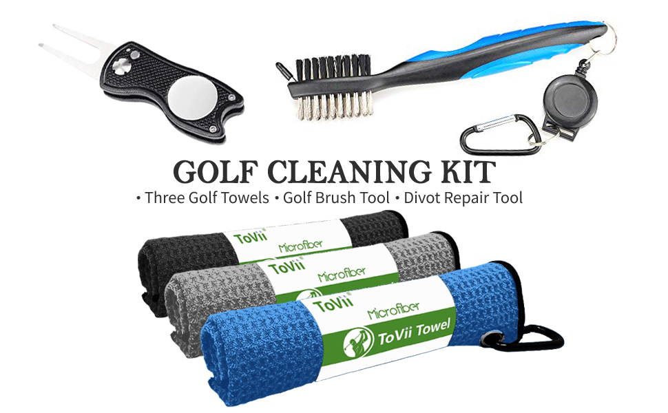 3c37b641 3708 49a7 aa95 bcfea6b23487.  CR0,0,970,600 PT0 SX970 V1    - ToVii Golf Towel Microfiber Waffle Pattern Golf Towel | Brush Tool Kit with Club Groove Cleaner | Golf Divot Tool | Golf Accessories for Men