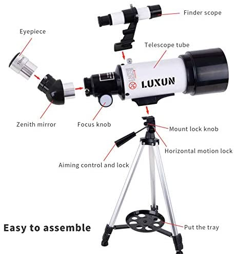 41+DagaZFxL. AC  - LUXUN Telescope for Astronomy Beginners Kids Adults, 70mm Aperture 400mm Astronomical Refracting Portable Telescope - Travel Telescope with Phone Adapter Carry Bag