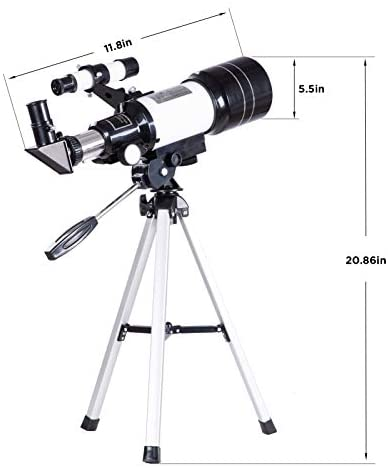 41+neTOkOYL. AC  - FREE SOLDIER Telescope for Kids Astronomy Beginners - 70mm Aperture High Magnification Astronomical Refractor Telescope with Phone Adapter Wireless Remote Portable Telescope for Kids,White