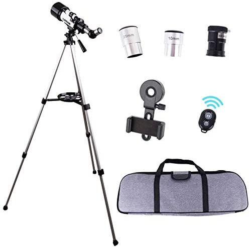 41BKx+ y0FL. AC  - LUXUN Telescope for Astronomy Beginners Kids Adults, 70mm Aperture 400mm Astronomical Refracting Portable Telescope - Travel Telescope with Phone Adapter Carry Bag