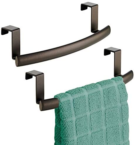 """41EOxtF2qZL. AC  - mDesign Modern Metal Kitchen Storage Over Cabinet Curved Towel Bar - Hang on Inside or Outside of Doors, Organize and Hang Hand, Dish, and Tea Towels - 9.7"""" Wide, 2 Pack - Bronze"""