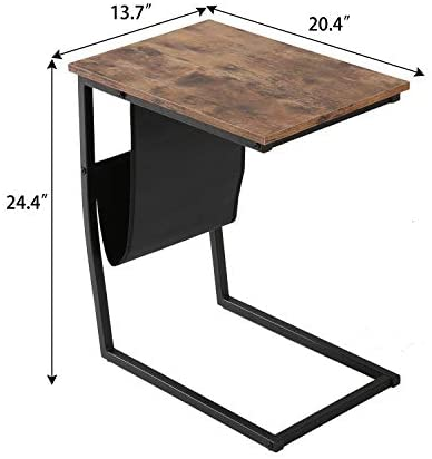 41I15JtB5tL. AC  - Bonzy Home Snack Side Table with Storage C Shaped End Table for Sofa Couch,Living Room,Bedroom & Small Spaces