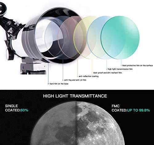 41M2fzAjBYL. AC  - FREE SOLDIER Telescope for Kids Astronomy Beginners - 70mm Aperture High Magnification Astronomical Refractor Telescope with Phone Adapter Wireless Remote Portable Telescope for Kids,White