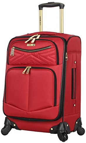 41SOVyU6wkL. AC  - Steve Madden Designer Luggage Collection - Lightweight Softside Expandable Suitcase for Men & Women - Durable 20 Inch Carry On Bag with 4-Rolling Spinner Wheels (Rockstar Red)