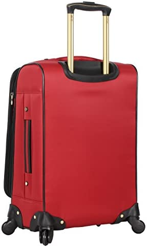 41VFK+4A4 L. AC  - Steve Madden Designer Luggage Collection - Lightweight Softside Expandable Suitcase for Men & Women - Durable 20 Inch Carry On Bag with 4-Rolling Spinner Wheels (Rockstar Red)