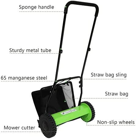 41XVnAVoMIS. AC  - Olenyer 16-Inch Quiet Cut Push Reel Lawn Mower with 5-Blade Push Reel,Green