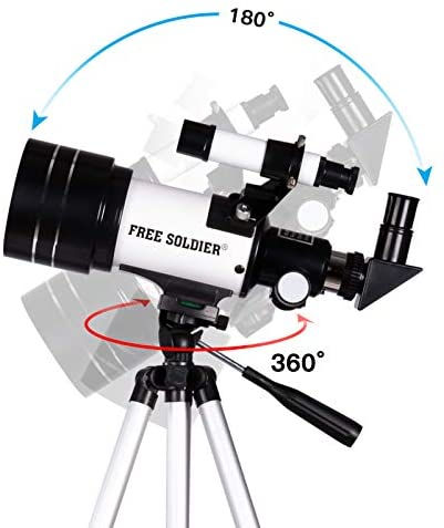 41YENMGeRYL. AC  - FREE SOLDIER Telescope for Kids Astronomy Beginners - 70mm Aperture High Magnification Astronomical Refractor Telescope with Phone Adapter Wireless Remote Portable Telescope for Kids,White